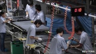 Flatscreen TV production line at a factory in Huizhou, China