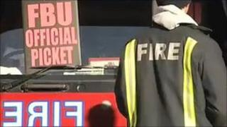 Firefighters on strike on 23 October