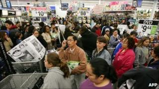 Shoppers at a Wal-Mart store in Duarte, California
