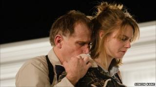 Danny Webb (Ian) and Lydia Wilson (Cate) in Blasted