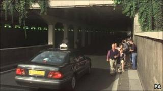 File picture of the Pont de l'Alma underpass in Paris, where the Princess of Wales and Dodi Fayed died in a car crash in 1997