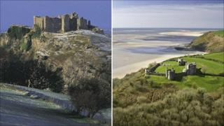 Carreg Cennen Castle and Llansteffan Castle