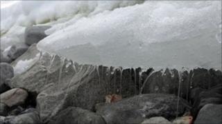 Ice melting on an island off the Antarctic coast