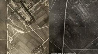 Area of German barracks before and after they were attacked - courtesy of the Royal Military Museum, Brussels