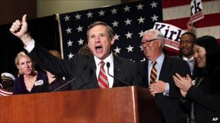 Rep Sen Mark Kirk celebrates victory in Chicago, Ill (3 Nov 2010)