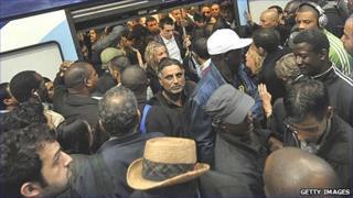 A crowded train