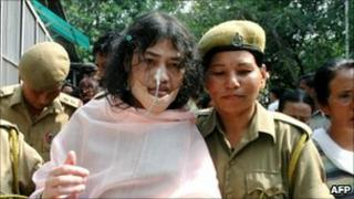 Irom Sharmila Chanu with police officers