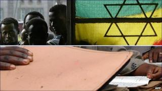 Top: University students queuing to vote in Addis Ababa in 2005. Bottom: Women attending a class in Alem Gena