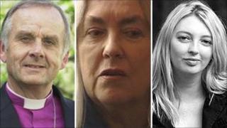 Archbishop of Wales, Barry Morgan, poet Gillian Clarke and author Rachel Trezise