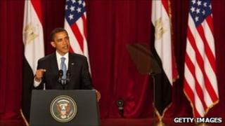 Barack Obama addresses a packed audience at Cairo University (June 2009)