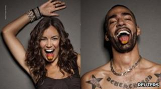 Stars in German ads - Brazilian model and TV presenter Jana Ina Zarrella (left) and DJ and rapper Harris