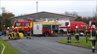 Fire service at Pensilva Industrial Estate