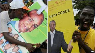 Left: A supporter of Cellou Dalein Diallo holds a campaign poster on 21 October during a presidential campaign meeting in Conakry. Right: A supporter holds Alpha Conde poster outside his headquarters in Conakry on 22 October.