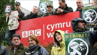 BBC journalists picketing outside Broadcasting House in Llandaff
