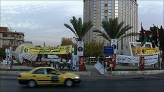 Campaign posters on an Amman round-about