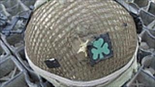 RIR helmet with bullet mark