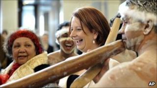Julia Gillard with Aboriginal elders in Canberra (24 February 2010)