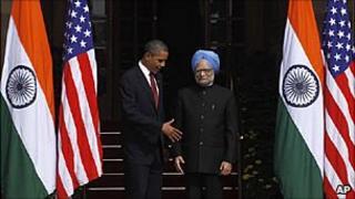 President Barack Obama with Indian PM Manmohan Singh in Delhi
