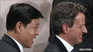 China vice finance minister Wang Jun and US treasury secretary Tim Geithner