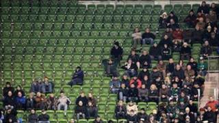 Empty seats at Dublin stadium, 6 Nov 10