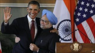 President Barack Obama and India's Prime Minister Manmohan Singh embrace after holding a joint news conference at Hyderabad House in New Delhi, India, 8 November 2010