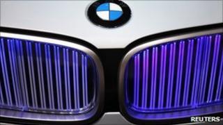 File picture of a BMW logo seen on a car at the Paris Mondial de l'Automobile