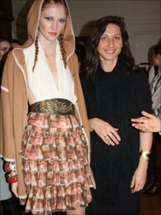 Student Laura Dinajeva (right) with her winning print design