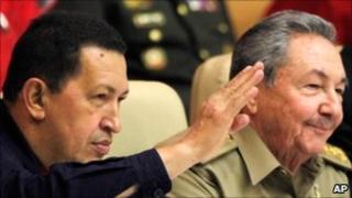 President Raul Castro of Cuba and Hugo Chavez of Venezuela