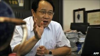 Mo Shaoping, a Chinese lawyer whose firm represents jailed Nobel laureate Liu Xiaobo, pictured in 2008