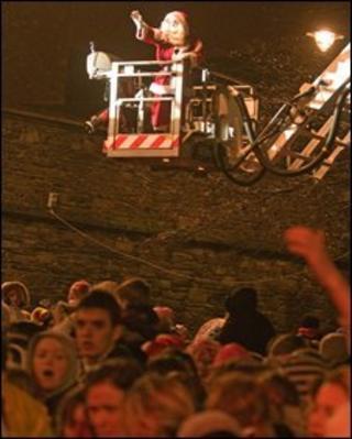 Santa on a crane