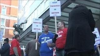Protesters outside AB Foods' annual general meeting