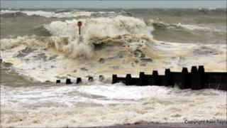 Stormy seas at Eastbourne (picture by Axel Taylor)