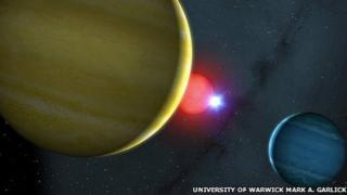The 'snooker-like' star system discovered by researchers, artist's impression by the University of Warwick copyright of Mark A. Garlick