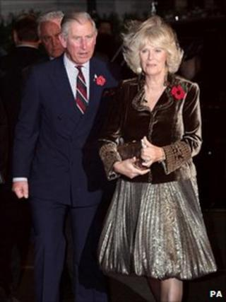 The Prince of Wales and the Duchess of Cornwall arrive for the awards