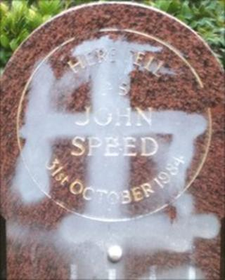 The vandalised memorial