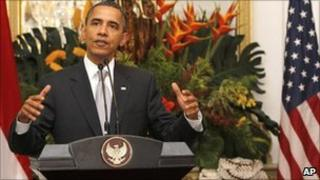 Barack Obama at the Merdeka palace in Jakarta 9 Nov
