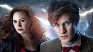 Dr Who, Matt Smith, and his on screen assistant, Amy Pond, played by Karen Gillan
