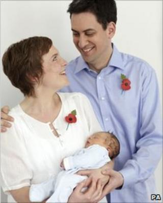 Ed Miliband, his partner Justine Thornton and their new son Samuel