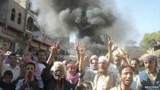 Demonstrators in Daleh, southern Yemen, 10 November