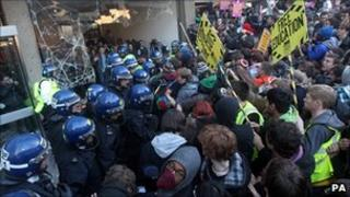 Demonstrators clash with police in Millbank