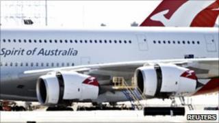 Qantas A380 at LA airport - 8 November 2010