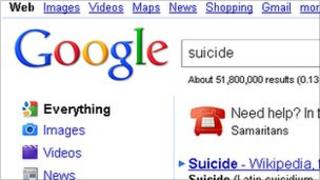 """Google search result for """"suicide"""""""
