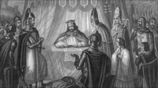 15 June 1215, King John signs the Magna Carta at Runnymede. Original Artwork: Engraved by Davenport and drawn by T H Jones