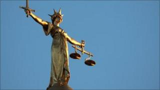 The figure of Lady Justice on the dome of the Old Bailey in London