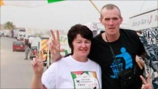 Betty Doherty and Eddie McBride from Derry on the convoy in Libya