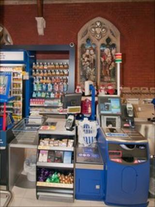Till inside new Tesco store in former church