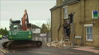 Digger outside bank