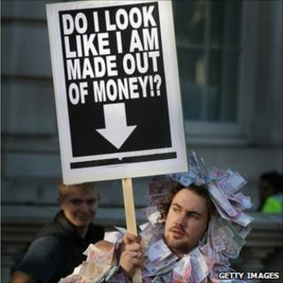 A campaigner in a money suit