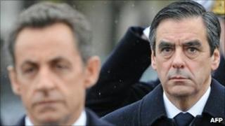 Nicolas Sarkozy and Francois Fillon (11 November 2010)