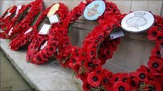 Poppy wreaths on Plymouth Cenotaph